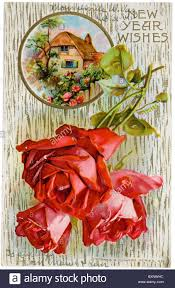 new year s postcards vintage new years postcard with roses stock photo 33672504