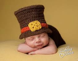 newborn boy pilgrim hat thanksgiving baby brown and orange