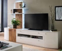 Wohnzimmerschrank 300 Cm Wohnwand Weiß Hochglanz Eiche Mxpweb Com
