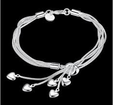 silver plated bangle bracelet images 925 sterling silver plated five line chain with five heart drop jpg