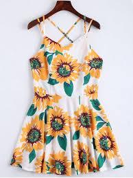 sun dress sunflower print open back cami sundress white summer dresses s