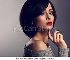woman with short hair sexy beautiful makeup woman with short hair style red stock