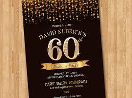 60th birthday invitation gold glitter diamond number birthday