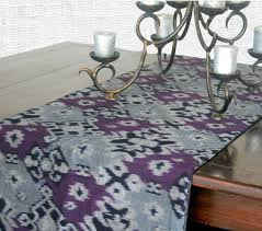table runner in hand woven indonesian ikat purple and black with