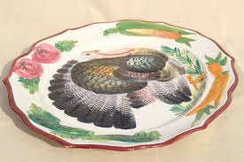 italian ceramic serving platter w painted thanksgiving turkey