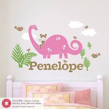 Nursery Name Wall Decals by Brontosaurus Dinosaur Girl Rider Name Wall Decal Graphic Spaces