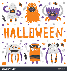 vector set scary cute halloween monsters stock vector 310097774