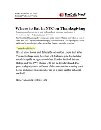 where to eat in nyc on thanksgiving treadwell park east