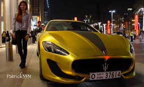 gold cars only in dubai maserati granturismo with gold wrap and swarovski