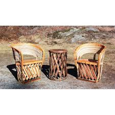 Mexican Patio Furniture Sets Vintage Mexican Equipale 2 Leather Barrel Chairs U0026 Table Patio