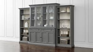 Bookcase Modular Cameo 4 Piece Grey Glass Door Wall Unit W Open Bookcases Crate