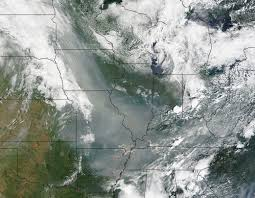 Wild Fires In Oregon State by Smoke From Canadian Fires Drifts Down Into U S Nasa