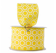honeycomb ribbon 6 3m polyester yellow with a white honeycomb pattern ribbon has
