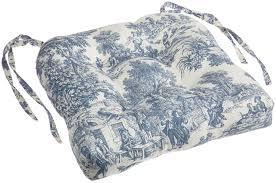 amazon com victoria park toile cushioned chair pad blue home