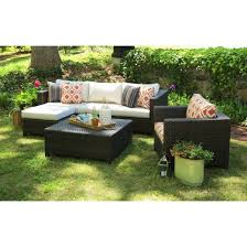 5 patio set biscayne 5 wicker sectional seating patio furniture set target