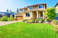Curb Appeal Usa - luxury big house with beautiful curb appeal stock photo image