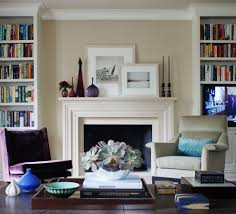 fireplace mantel bookshelves living room traditional with wood