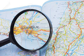 istanbul turkey map map of turkey and the magnifying glass focused on istanbul stock