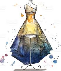 mannequin with a long dress fashion sketch stock vector art