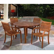 Sc Patio Furniture amazonia arizona eucalyptus wood 5 piece round patio dining set