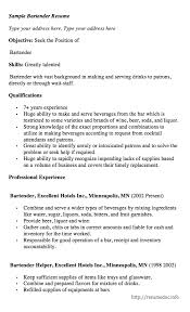 bartending resume exle exles of bartender resumes tomyumtumweb