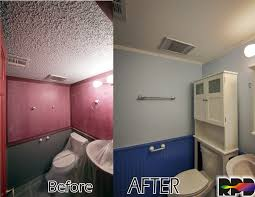 modernized and refreshed small bathroom by removing popcorn