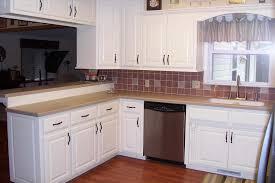 White Kitchen Cabinets White Appliances Kitchen Beige Quartz Countertops Red Tile Backsplash Copper