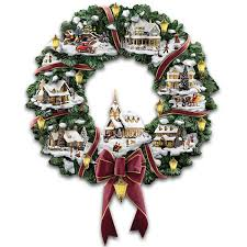 amazon com thomas kinkade victorian christmas village wreath by