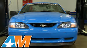 1994 mustang gt headlights 1994 1998 mustang dual halo led black projector headlights review