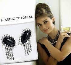 hepburn earrings bead earring tutorial beadweaving pattern beading clip