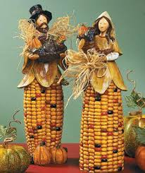 thanksgiving table decorations pilgrim corn statues centerpiece