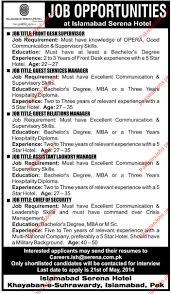 Hotel Front Desk Supervisor Job Description Serena Hotel Islamabad Requried Staff Serena Hotel Jobs In