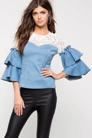 chambray blouse s tops crochet chambray blouse a gaci