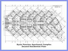 build blueprints byala panchev apartment complex second floor architectural plan