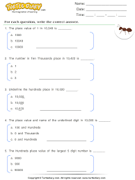 identify the place value of a underlined digit worksheet turtle