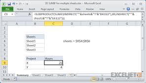 excel formula 3d sumif for multiple worksheets exceljet