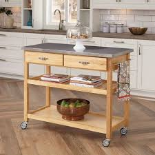 movable small kitchen island cart with stainless countertops and
