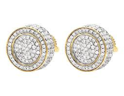 real diamond earrings unisex 10k yellow gold 3d pave set genuine diamond stud