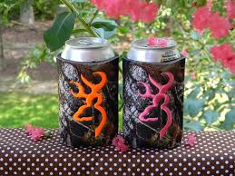 one custom mossy oak can koozie with browning deer head you