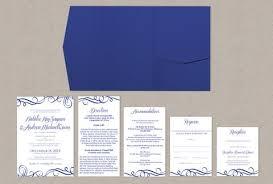 wedding invitations royal blue swirls pocket wedding invitation template royal blue