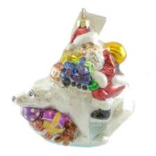christopher radko glass polar bear sleigh ride christmas ornament
