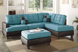 Leather Blue Sofa Ancel Blue Leather Sectional Sofa And Ottoman A Sofa