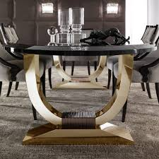 italian black lacquered gold oval dining table at juliettes