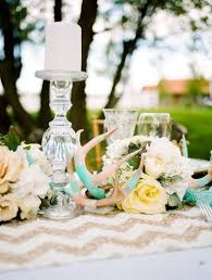 rustic glam tiffany blue and gold antler wedding centerpieces