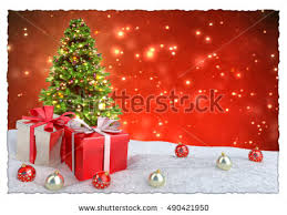 retro christmas background christmas tree presents stock vector