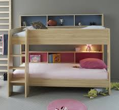 White Small Double Bed Frame by Modern Kids Bedroom With Unstained Wooden Oak Bunk Bed Using White