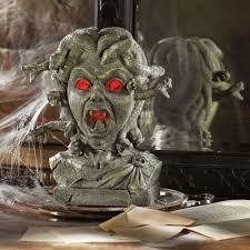 medusa animated halloween bust the green head