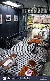 trendy hipster retro style restaurant interior design stock photo