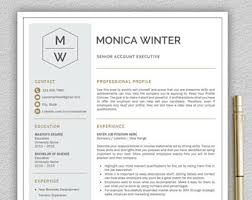 Resume Template Download For Word Resume Template Etsy