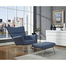 modern armchair with ottoman futuristic lounge chair ottoman set in blue unique modern